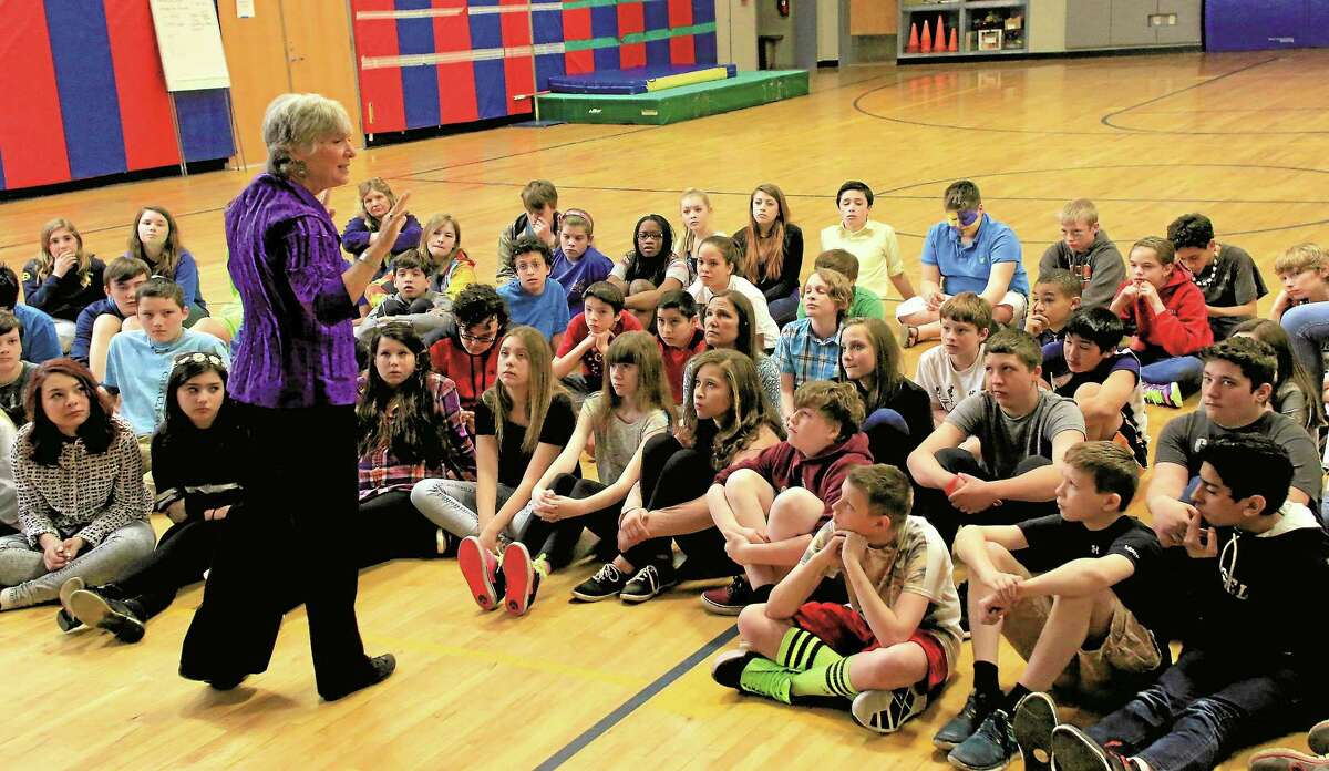 """During a visit to Cornwall Consolidated School, author Doreen Rappaport talks to CSS and Lee Kellogg School students about her book """"Beyond Courage: The Untold Story of Jewish Resistance During the Holocaust"""" and the concept of empowerment."""