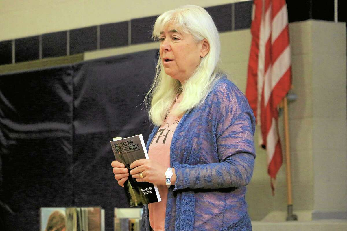 """Cornwall Consolidated School Enrichment Coordinator Leslie Elias talks about her own family's story and her aunt Eva Feldsztein Wassermanís book """"I Shall Lead You Through The Night."""""""