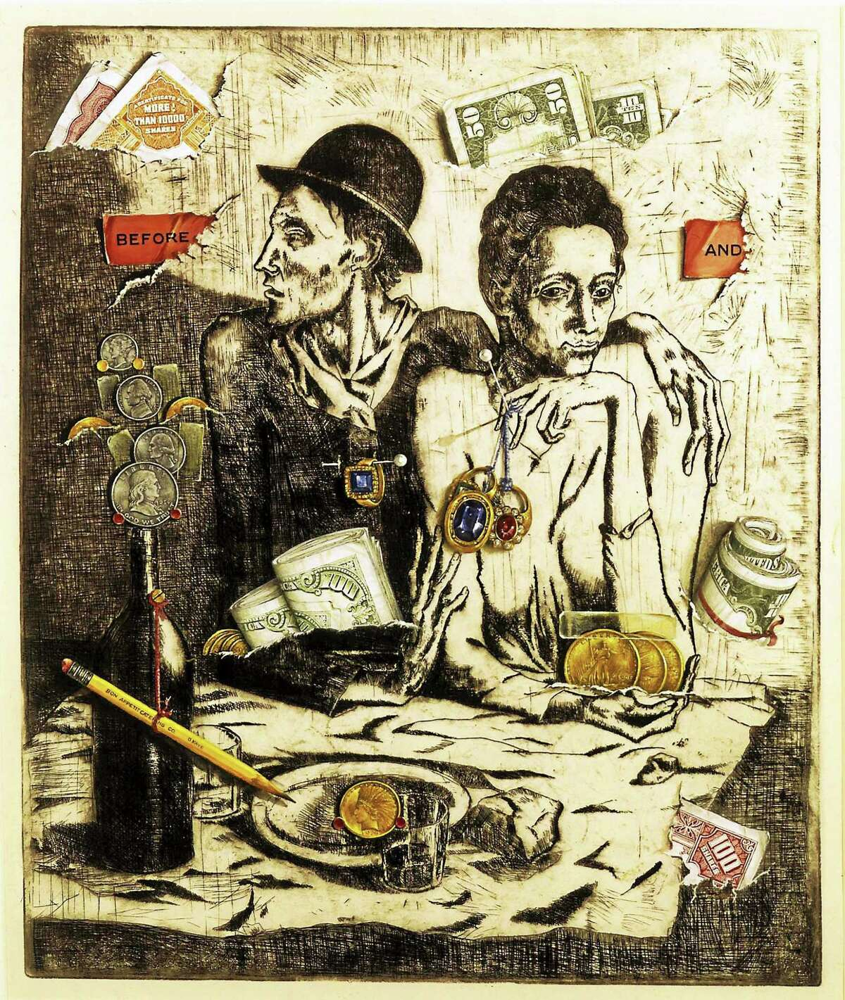 Contributed photos Otis Kaye, Before Taxes, 1956, Etching and gouache on paper, 18 x 15 in., Collection of the Board of Governors of the Federal Reserve System, Gift of Rachel and Nathan Young.