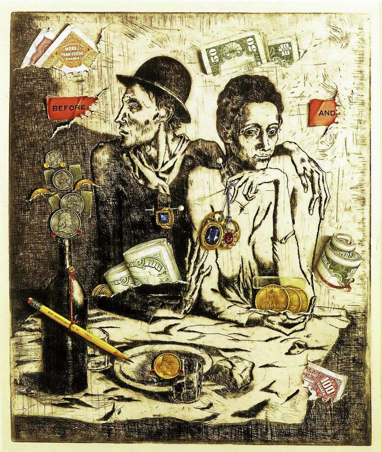 Contributed photos Otis Kaye, Before Taxes, 1956, Etching and gouache on paper, 18 x 15 in., Collection of the Board of Governors of the Federal Reserve System, Gift of Rachel and Nathan Young. Photo: Journal Register Co.