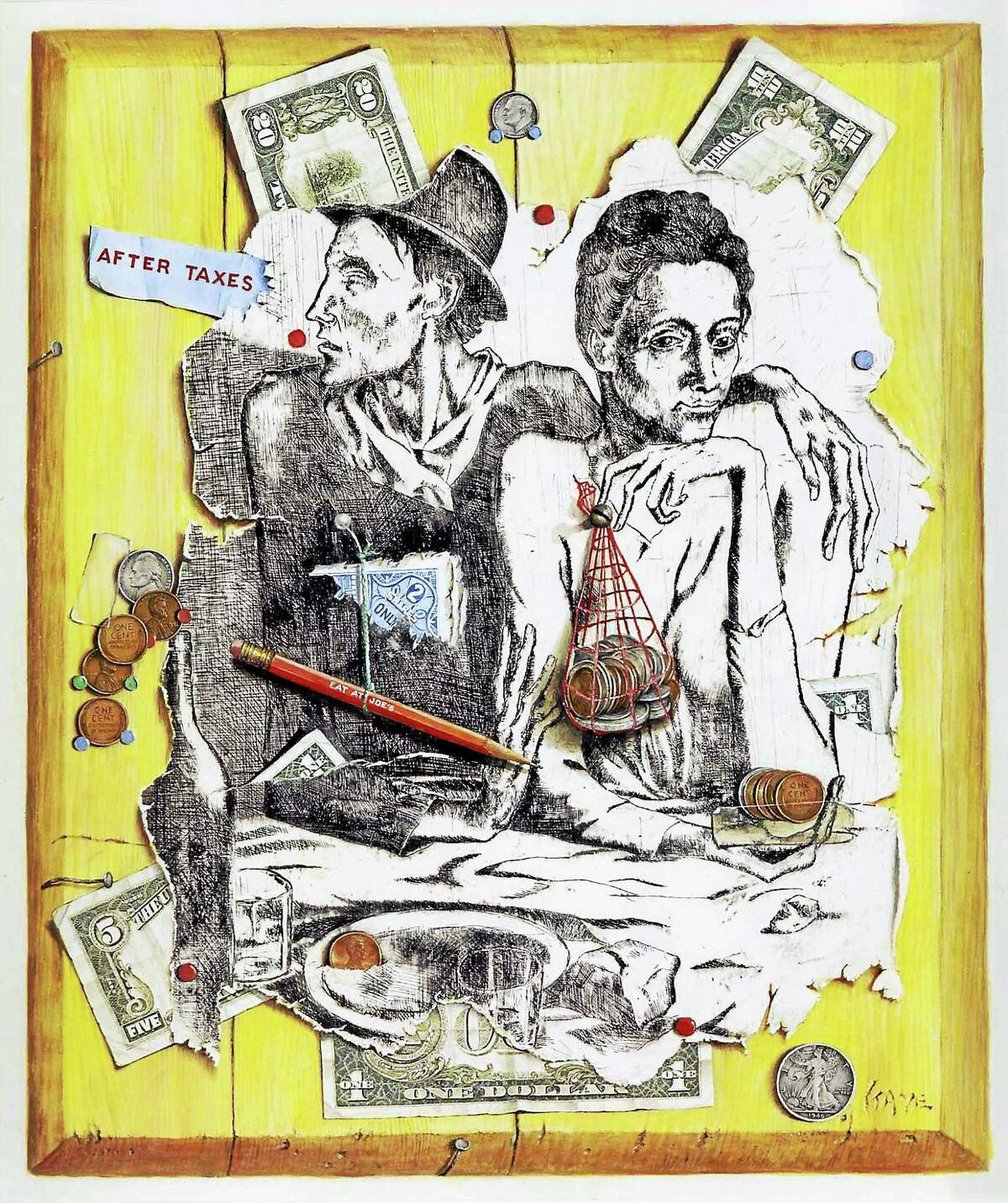 Contributed photos Otis Kaye, After Taxes, 1956, Etching and gouache on paper, 18 x 15 in., Collection of the Board of Governors of the Federal Reserve System, Gift of Rachel and Nathan Young.