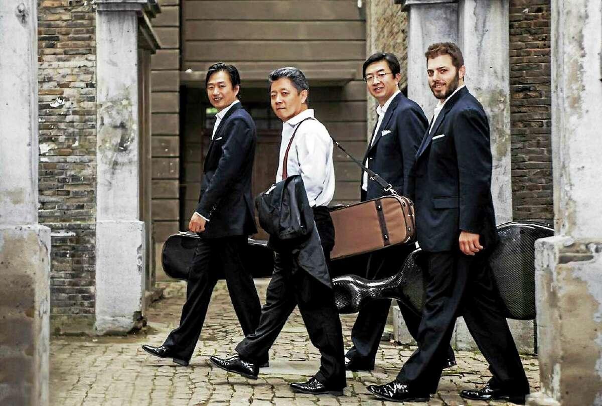 Contributed photo - Shanghai String Quartet The Shanghai String Quartet performs at Music Mountain Labor Day weekend. Above, from left, are Honggang Li, viola; Yi-Wen Jiang, violin; Weigang Li, violin; and Nicholas Tzavaras, cello.