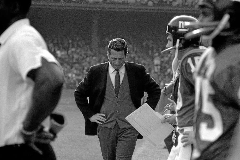 Allie Sherman, coach of the New York Giants, is shown during an Oct. 20 game at Yankee Stadium. Photo: Harry Harris — The Associated Press File Photo  / AP