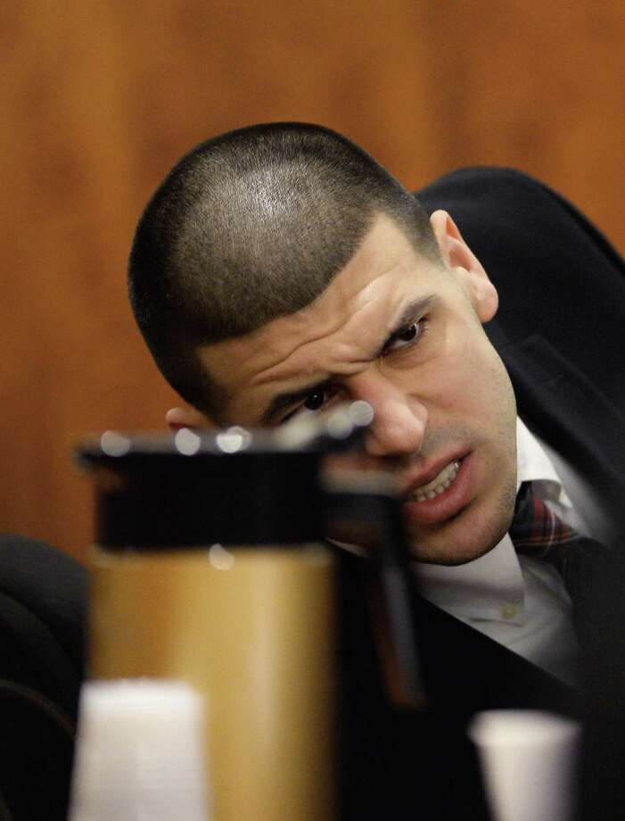 Aaron Hernandez attends a pretrial hearing in the first of two murder cases against him at Bristol County Superior Court Tuesday in Fall River, Mass. Photo: CJ Gunther — The Associated Press  / POOL EPA