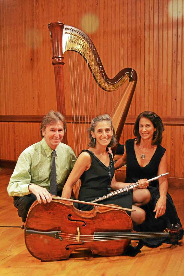 Photo courtesy of the Sherman Chamber Ensemble Above, from left, Sherman Chamber Ensemble Artistic Director and cellist, Eliot Bailen with flutist Susan Rotholz and harpist Stacey Shames. Photo: Journal Register Co.