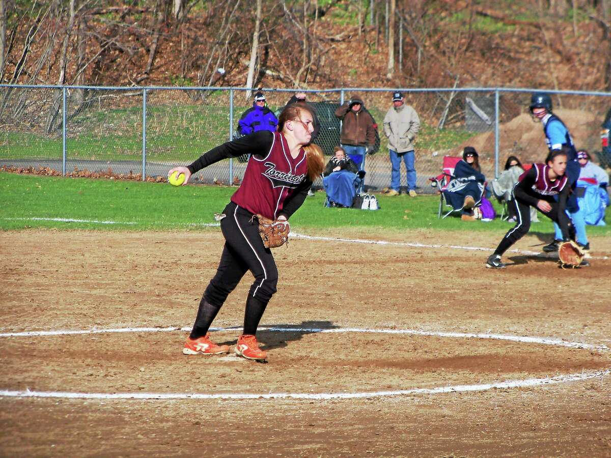 Peter Wallace — Register Citizen Torrington sophomore Ali Dubois pitched her first varsity no-hitter a week-and-a-half ago in a 12-0 Red Raider win over Ansonia.