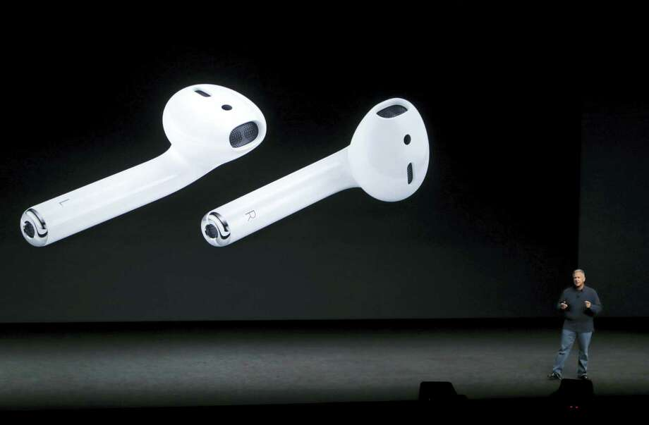 Phil Schiller, Apple's senior vice president of worldwide marketing, talks about AirPods during an event to announce new products, in San Francisco. Photo: Marcio Jose Sanchez — The Associated Press File  / Copyright 2016 The Associated Press. All rights reserved.