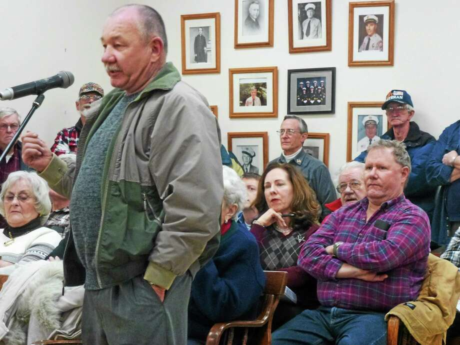 VFW Commander Neil Hunt addresses Winsted Selectmen during the public hearing session of Monday night's meeting. Photo: Ryan Flynn — Register Citizen