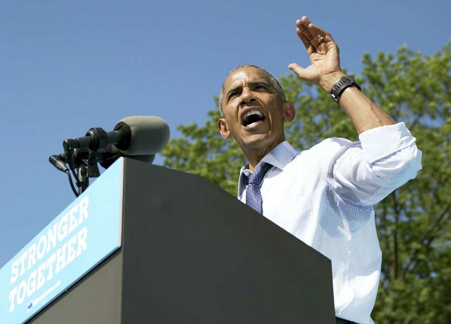 President Barack Obama speaks at campaign event for Democratic presidential candidate Hillary Clinton Tuesday at Eakins Oval in Philadelphia. Photo: Carolyn Kaster — The Associated Press  / Associated Press WashDC