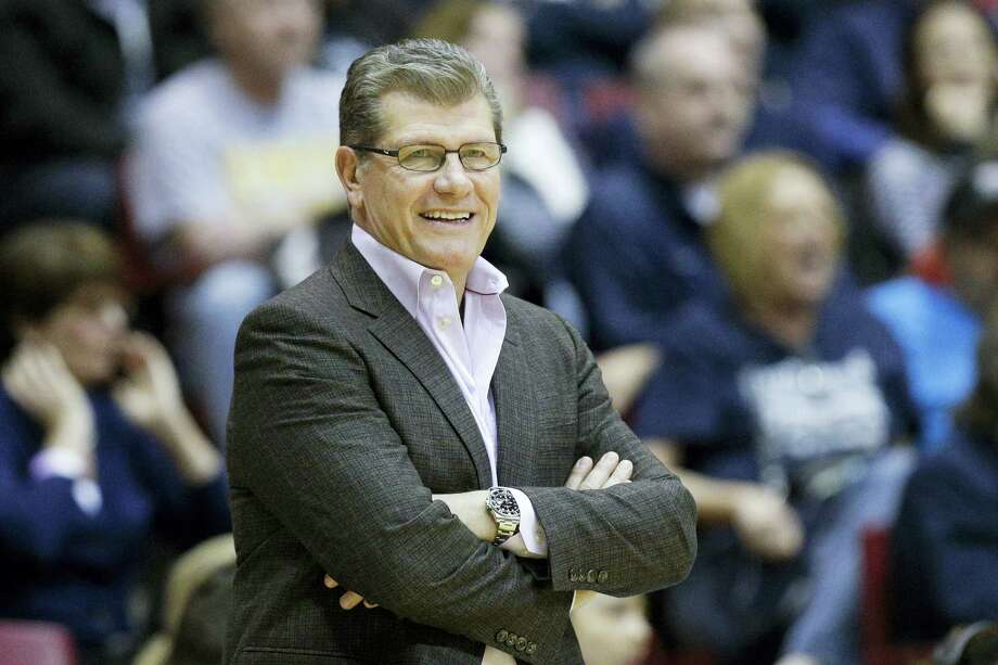 Connecticut head coach Geno Auriemma smiles in the second half of an NCAA college basketball game against Cincinnati, Wednesday, Dec. 30, 2015, in Cincinnati. Connecticut won 107-45. (AP Photo/John Minchillo) Photo: AP / AP