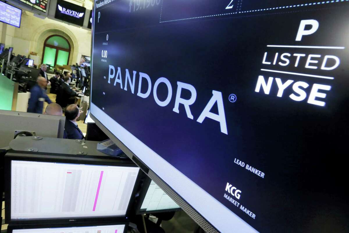 In this Oct. 23, 2015 photo, Pandora is displayed above a post where it trades on the floor of the New York Stock Exchange. Pandora is getting ready to take on rivals Spotify, Apple Music and others, offering a monthly $10 streaming music service, but also a cheaper option.