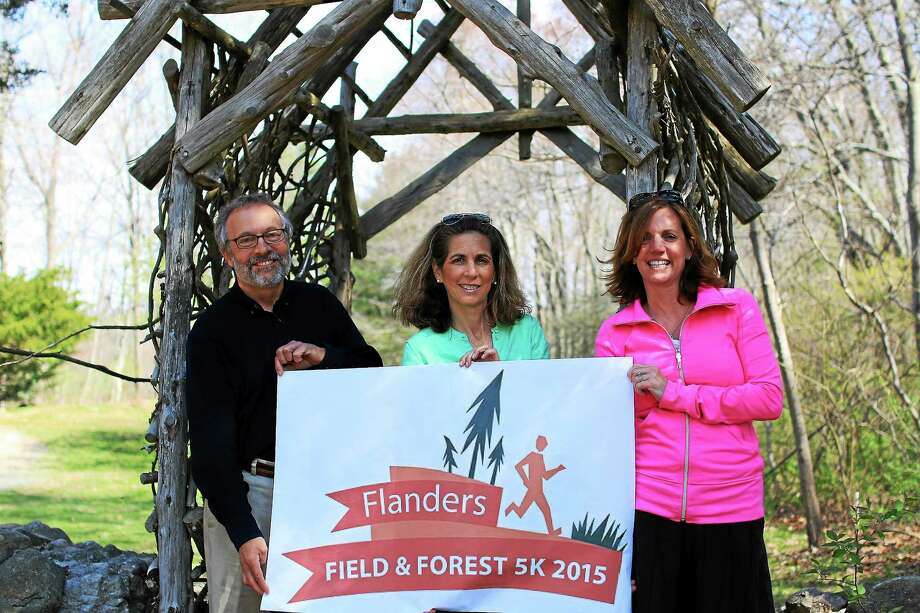 From left are Flanders Executive Director Arthur Milnor, race chairwoman Jodi Wasserstein and committee member Dana Moreira. Photo: John Fitts — The Register Citizen