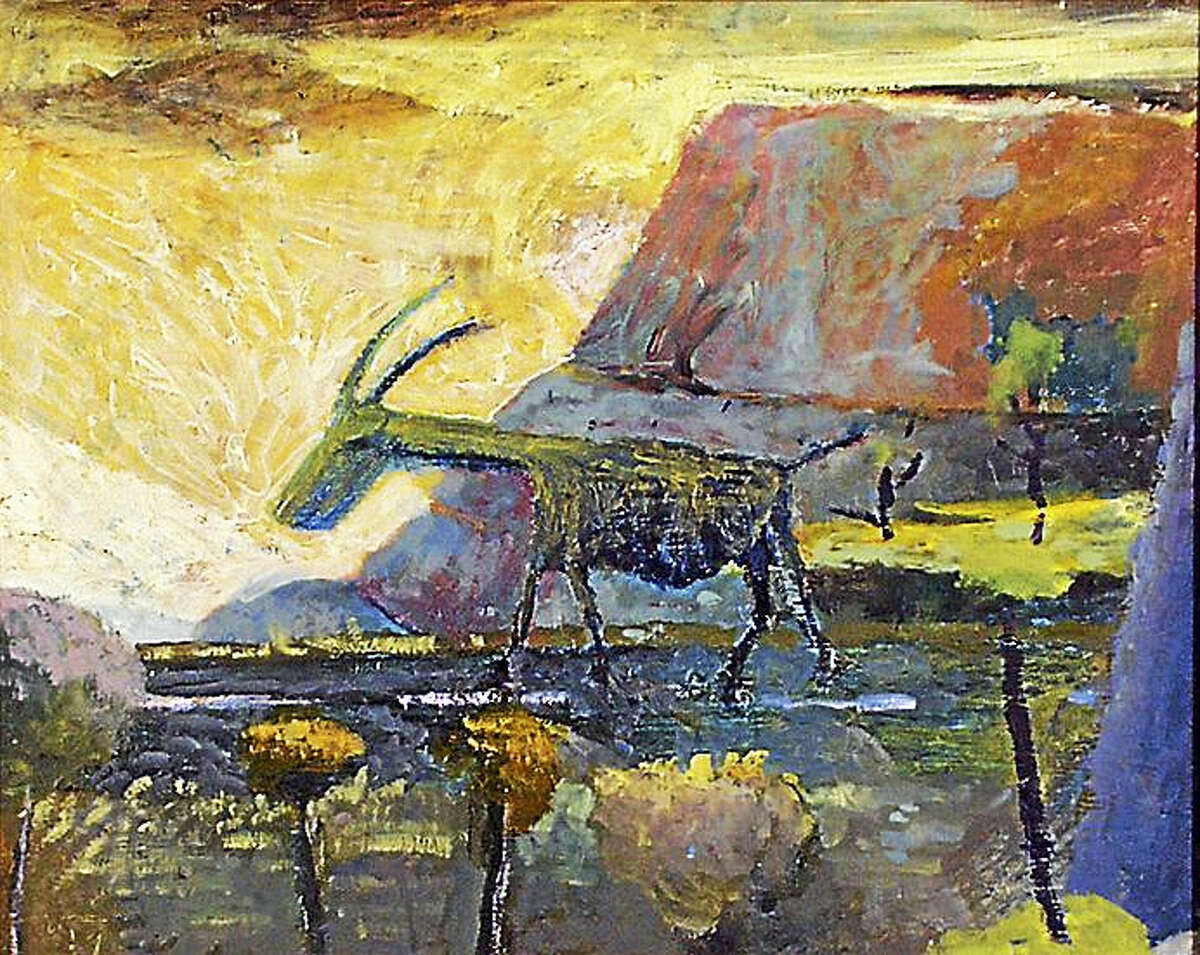 "Contributed photoESCAPING GOAT, Malcom Moran, oil on canvas, 16"" x 20"", image taken by artist 2005."