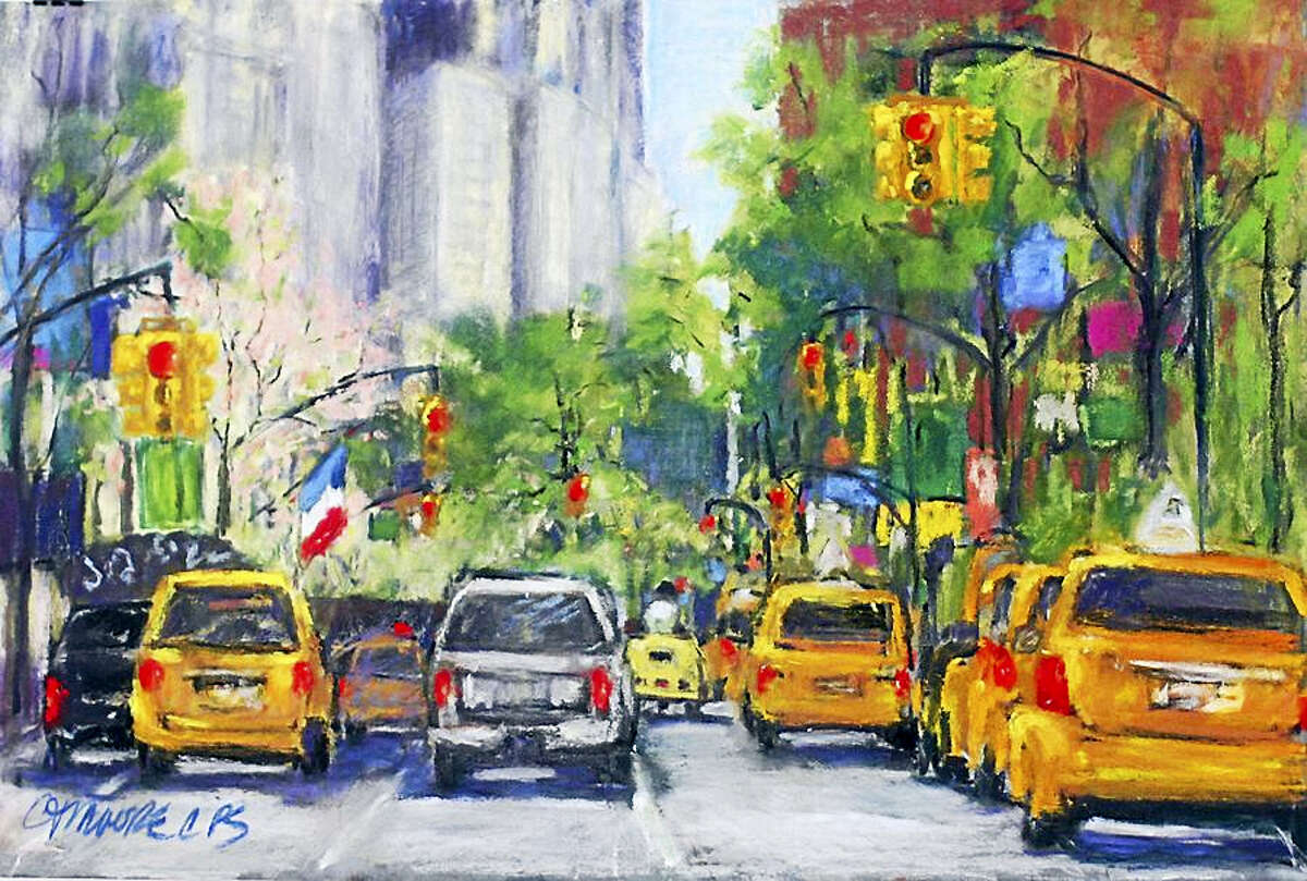 Contributed photo courtesy of the artistYellow Cabs Red Lights, pastel, by Carol Moore.