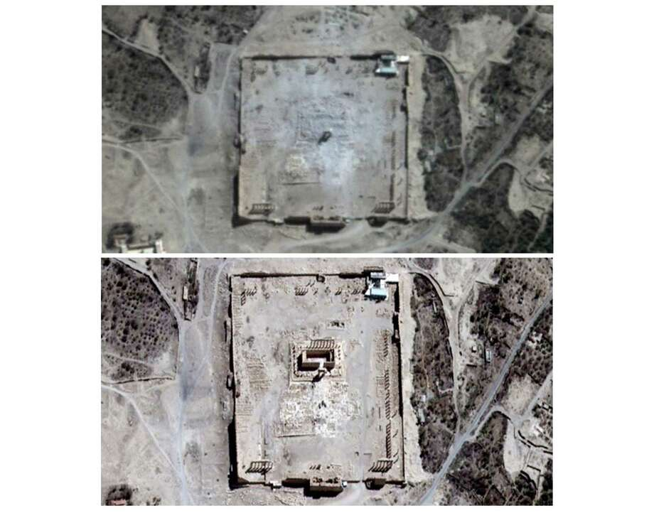 COMBO - This combination of two satellite images provided by UNITAR-UNOSAT shows damage to the main building of the ancient Temple of Bel in Palmyra, Syria on Monday, Aug. 31, 2015, top, and before the damage on Thursday, Aug. 27, 2015. The main building has been destroyed, a United Nations agency said on Monday, Aug. 31, 2015. The imagery was taken before and after a massive explosion was set off near the 2,000-year-old temple in the city occupied by Islamic State militants. Photo: UNITAR-UNOSAT Via AP  / UNITAR-UNOSAT