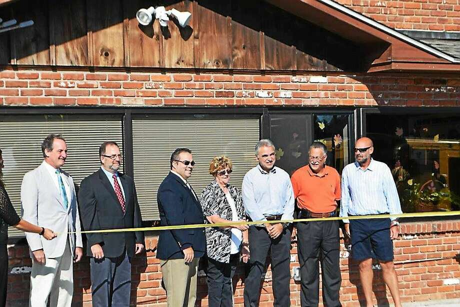 State Rep. John Piscopo, Burlington First Selectman Ted Shafer, Harwinton First Selectman Michael Criss, Marion Solgovic, Board of Education Chairman Joe Arcuri, Region 10 Superintendent of Schools Alan Beitman and All-Star Transportation Owner John Dufour. Photo: Contributed Photo