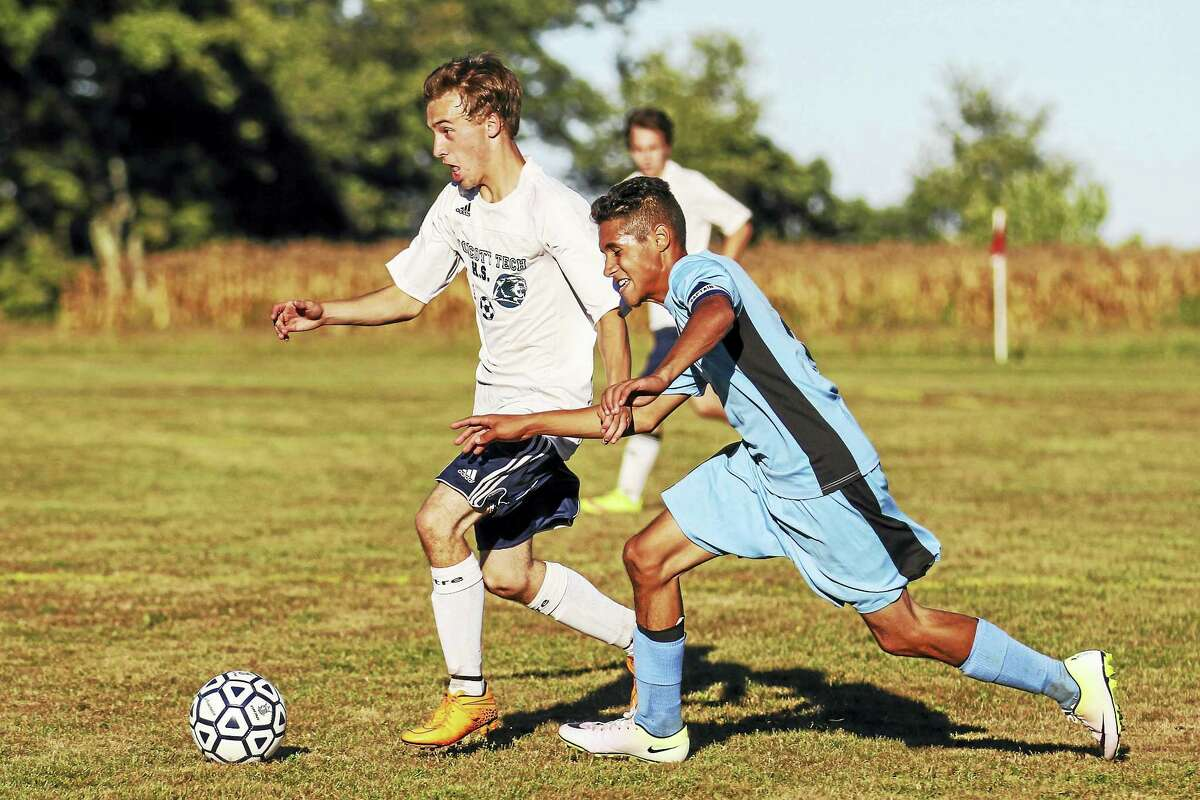 Photo by Marianne Killackey Wolcott Tech's Mitch Sorensen tied the score in the first half Monday at Bishop Donnelly Field.