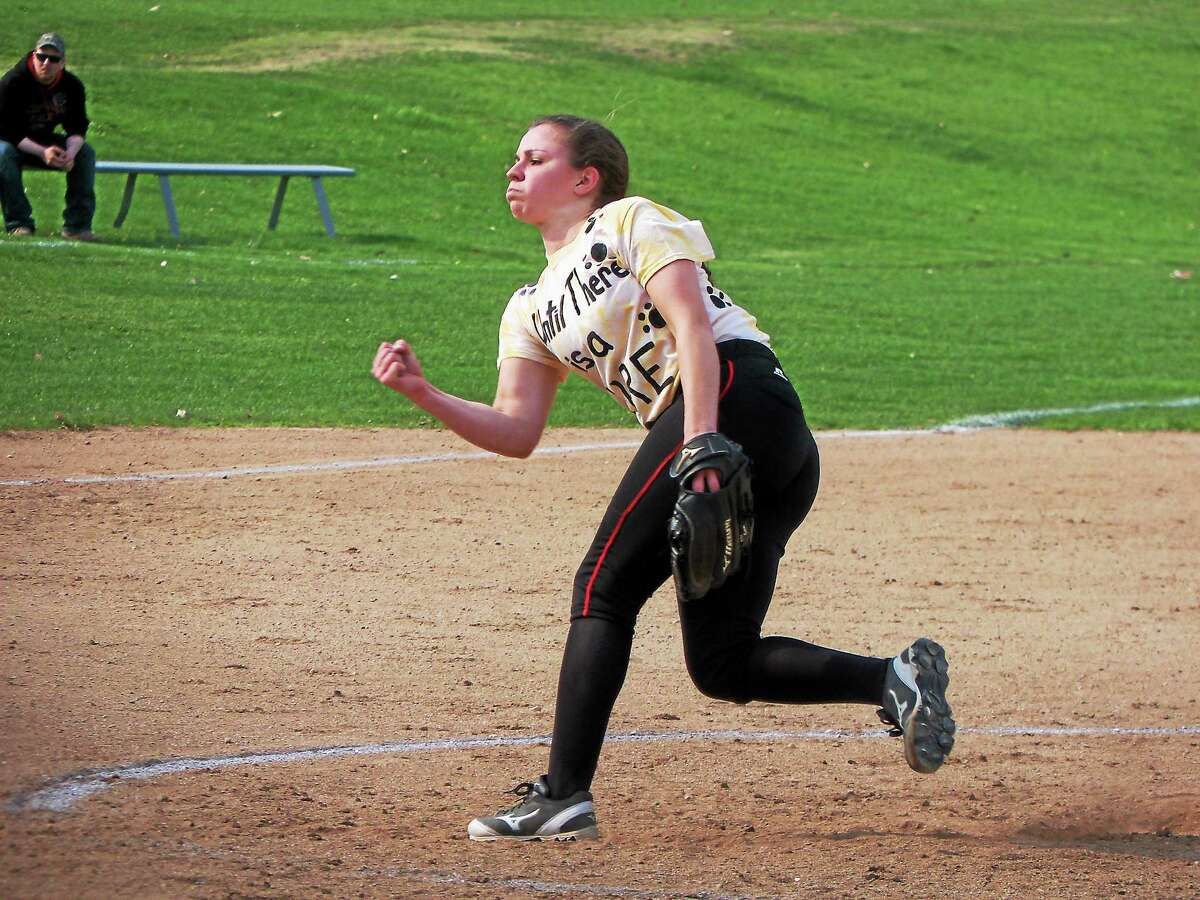 Northwestern pitcher Monica Swartley gave up just two hits through four innings, then held the the rest of the Chiefs off while Marisa Valente connected for home runs in the fifth and sixth.