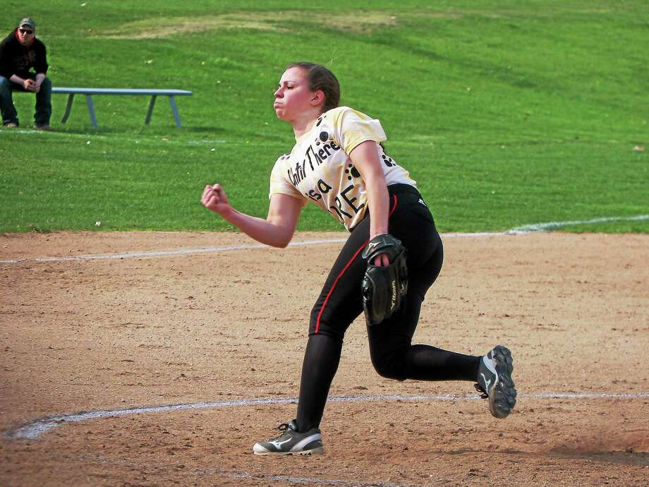 Northwestern pitcher Monica Swartley gave up just two hits through four innings, then held the the rest of the Chiefs off while Marisa Valente connected for home runs in the fifth and sixth. Photo: Peter Wallace — Register Citizen