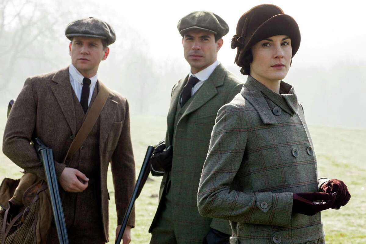 Allen Leech as Tom Branson, left, Tom Cullen as Lord Gillingham and Michelle Dockery as Lady Mary.