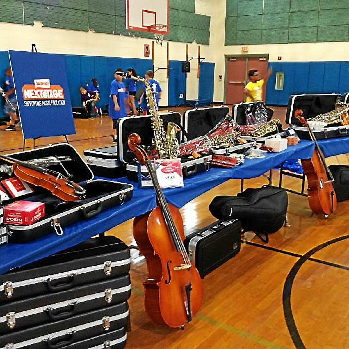 Students at Vogel-Wetmore were surprised on Tuesday with 25 new musical instruments donated by StubHub in partner with The Mr. Hollandís Opus Foundation.