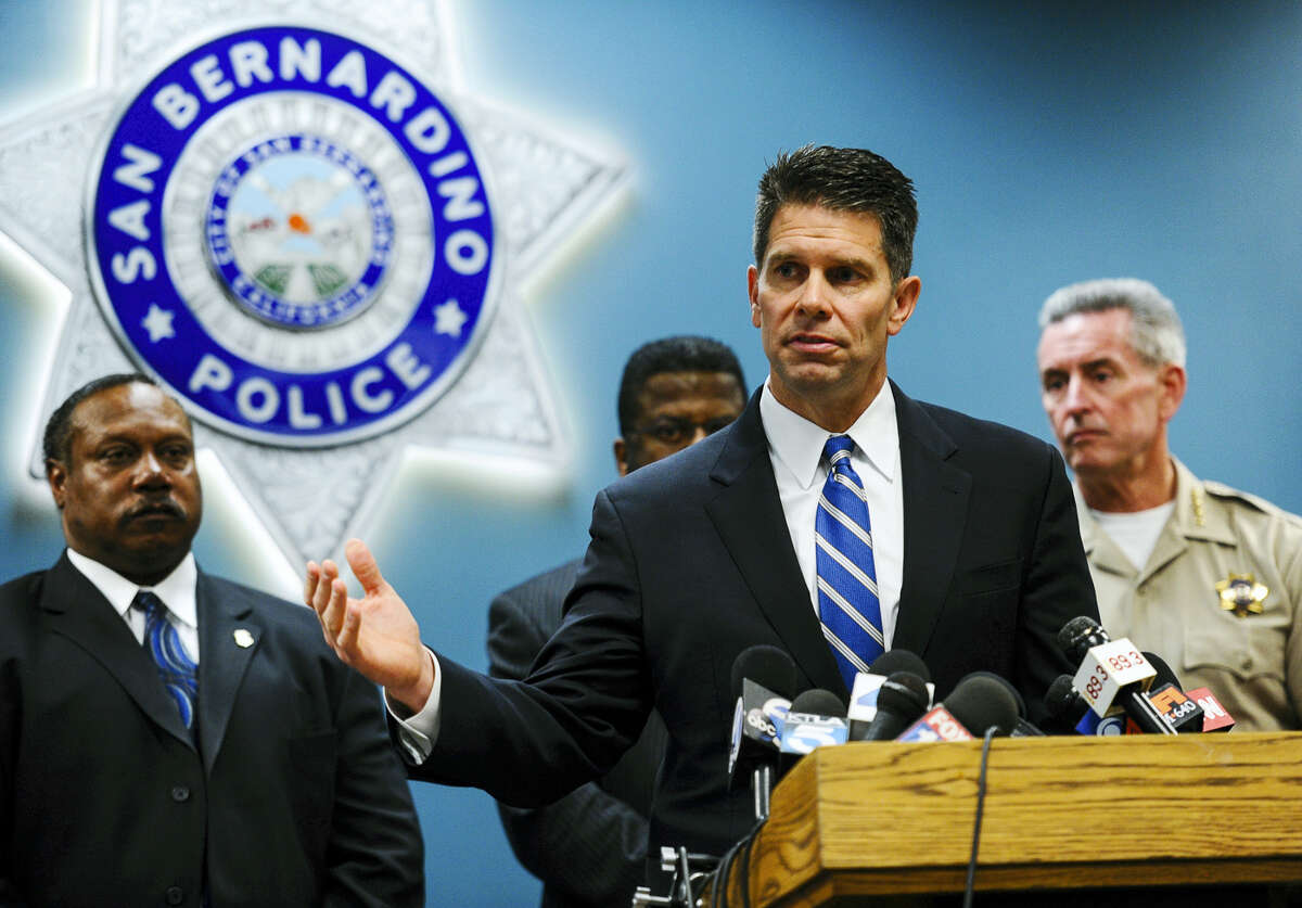 David Bowdich, the assistant director in charge of the FBI's Los Angeles office, speaks at a news conference at the San Bernardino Police Department on Tuesday, Jan. 5, 2016. Bowdich appealed to the public and the San Bernardino community for information about the attack that killed 14 people last month in San Bernardino.