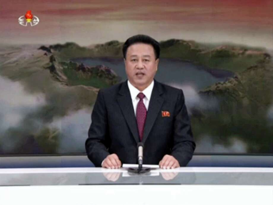 In this image made from video from KRT, North Korean state broadcaster, a North Korean man speaks during a broadcast aired on Wednesday, Jan. 6, 2016. North Korea says it has conducted a hydrogen bomb test. The surprise announcement that complicates already difficult efforts to curb the country's push for a working nuclear arsenal. Photo: KRT Via AP Video / KRT