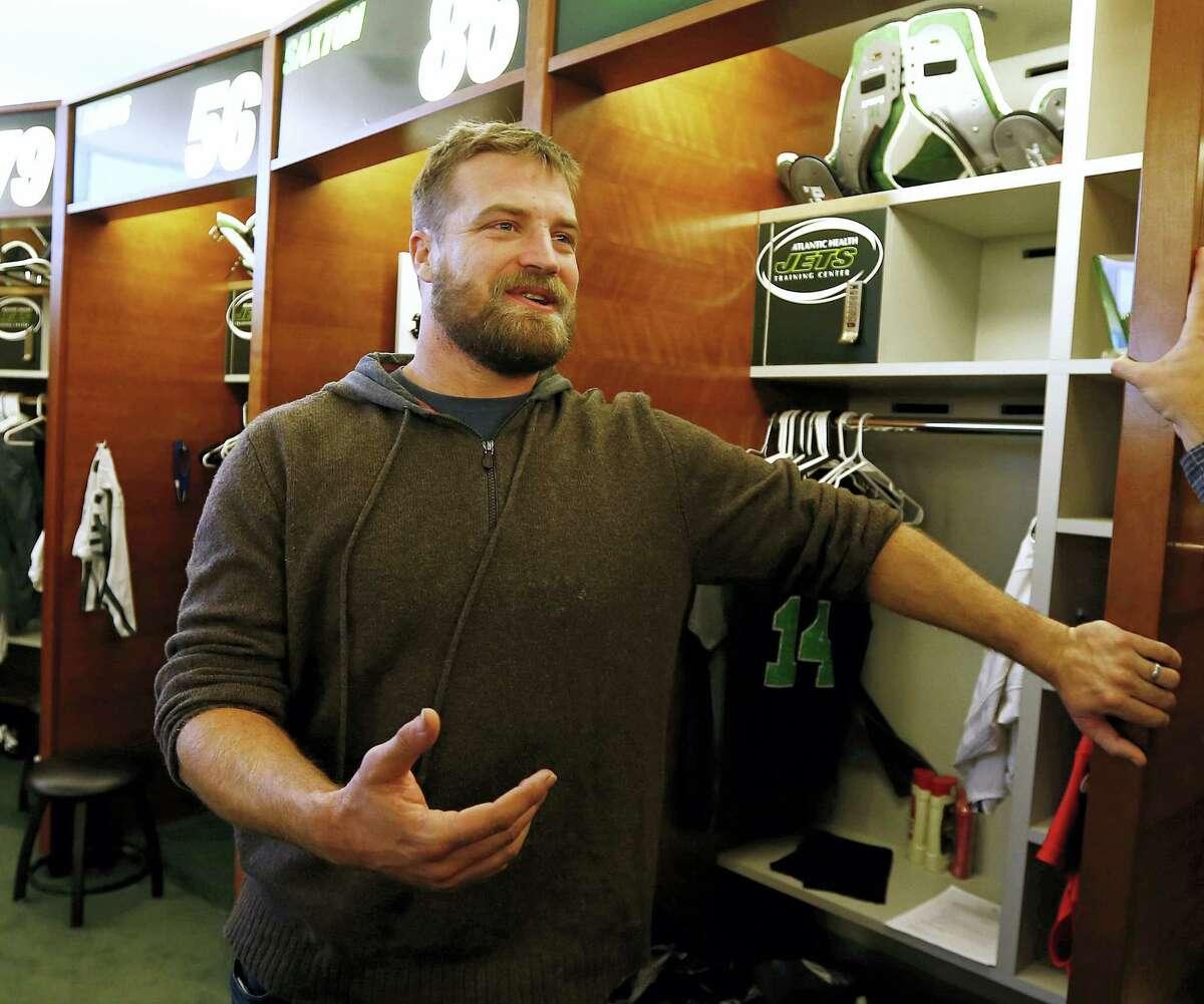 Jets quarterback Ryan Fitzpatrick talks to the media Monday in Florham Park, N.J.