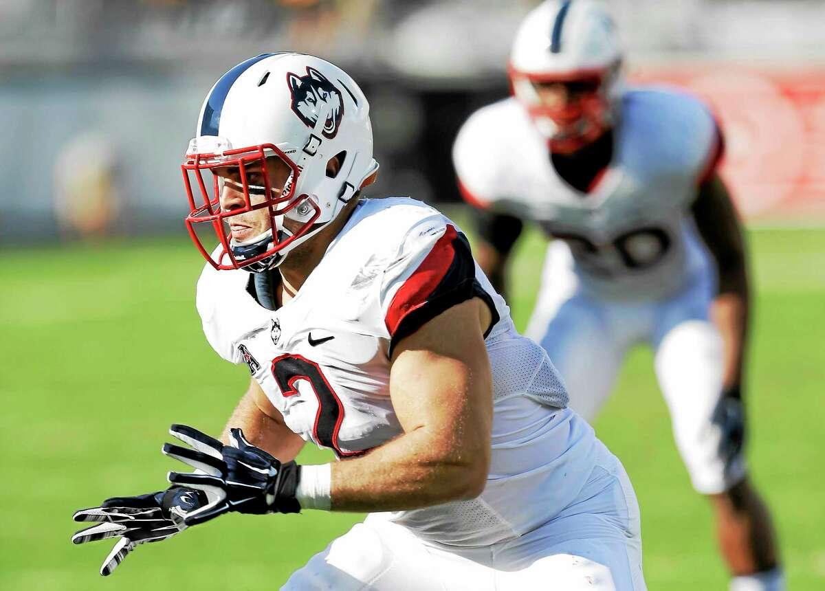 UConn linebacker Graham Stewart got the Huskies fired up on Friday night against East Carolina.