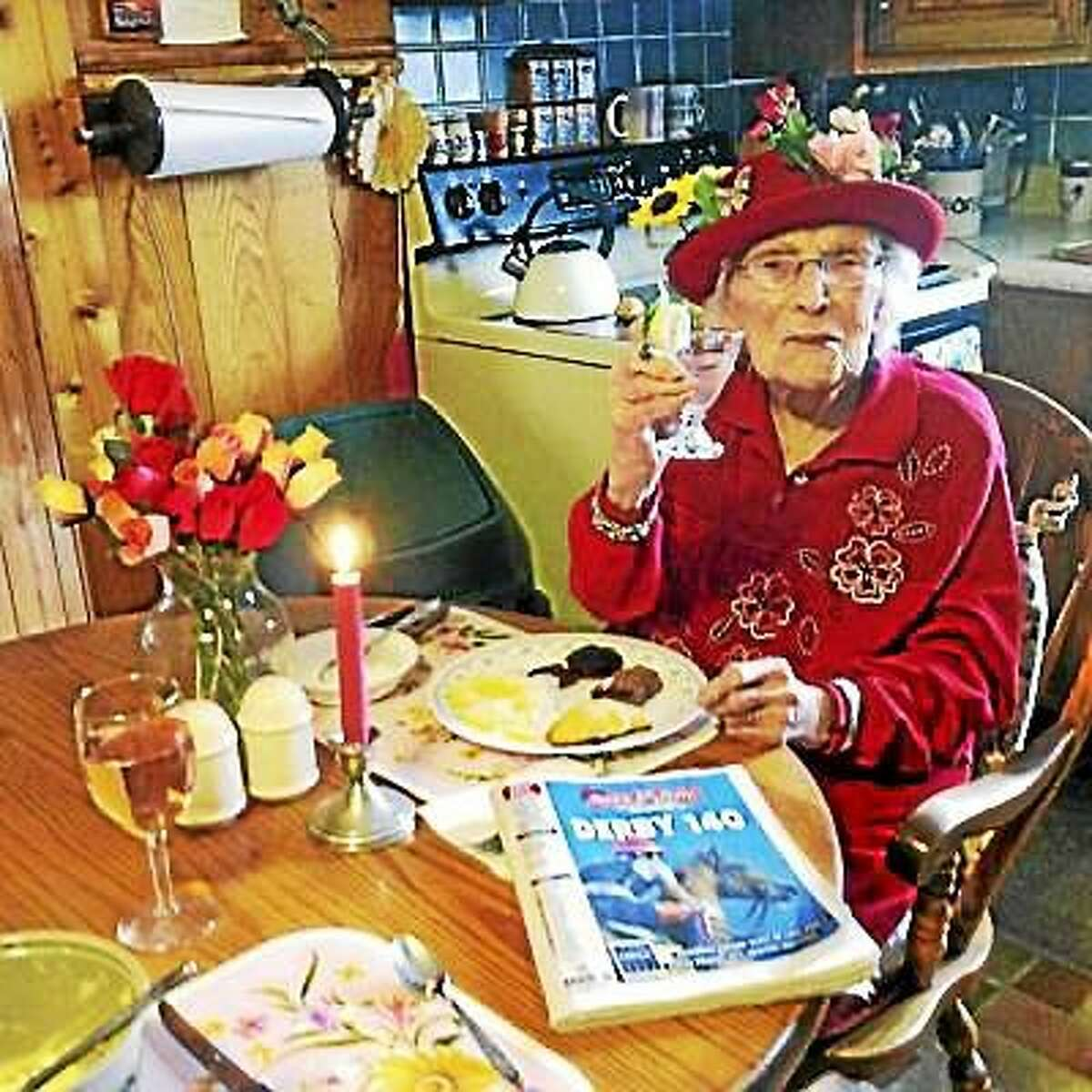 Bernice 'Bennie' Madigan, pictured here on Derby Day this past May in her home in Cheshire, Mass., died early Saturday morning, aged 115 years, 163 days. She was the fifth-oldest person in the world. (Elaine Daniels ó Courtesy Photo)