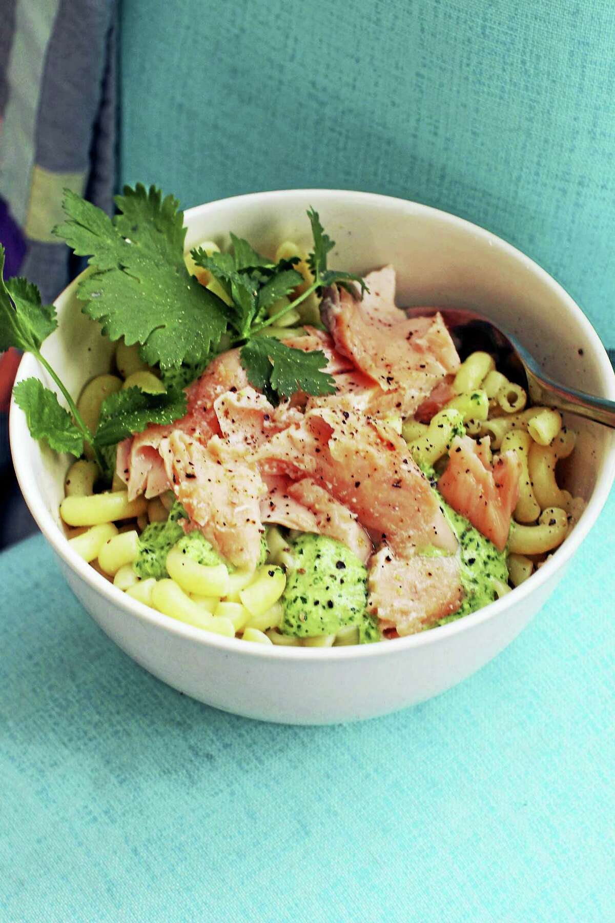 This delicious spring dish is easy to assemble and travels well, making it perfect for packed lunches and picnics. It also can be prepped in advance by poaching the fish and cooking the pasta the night before.