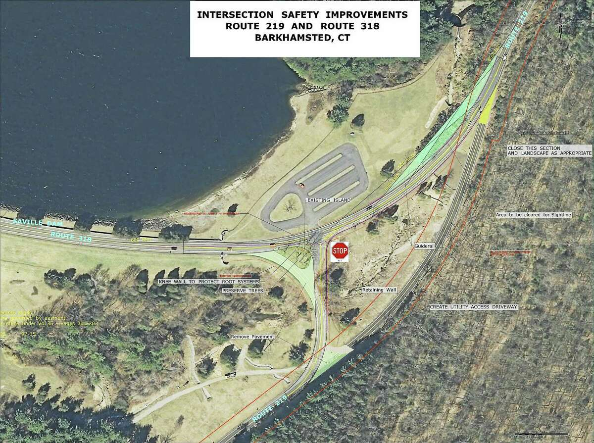 A copy of the preliminary concept of the intersection of Route 219 and 318 in Barkhamsted that will be discussed at a meeting by the DOT engineers on Thursday.