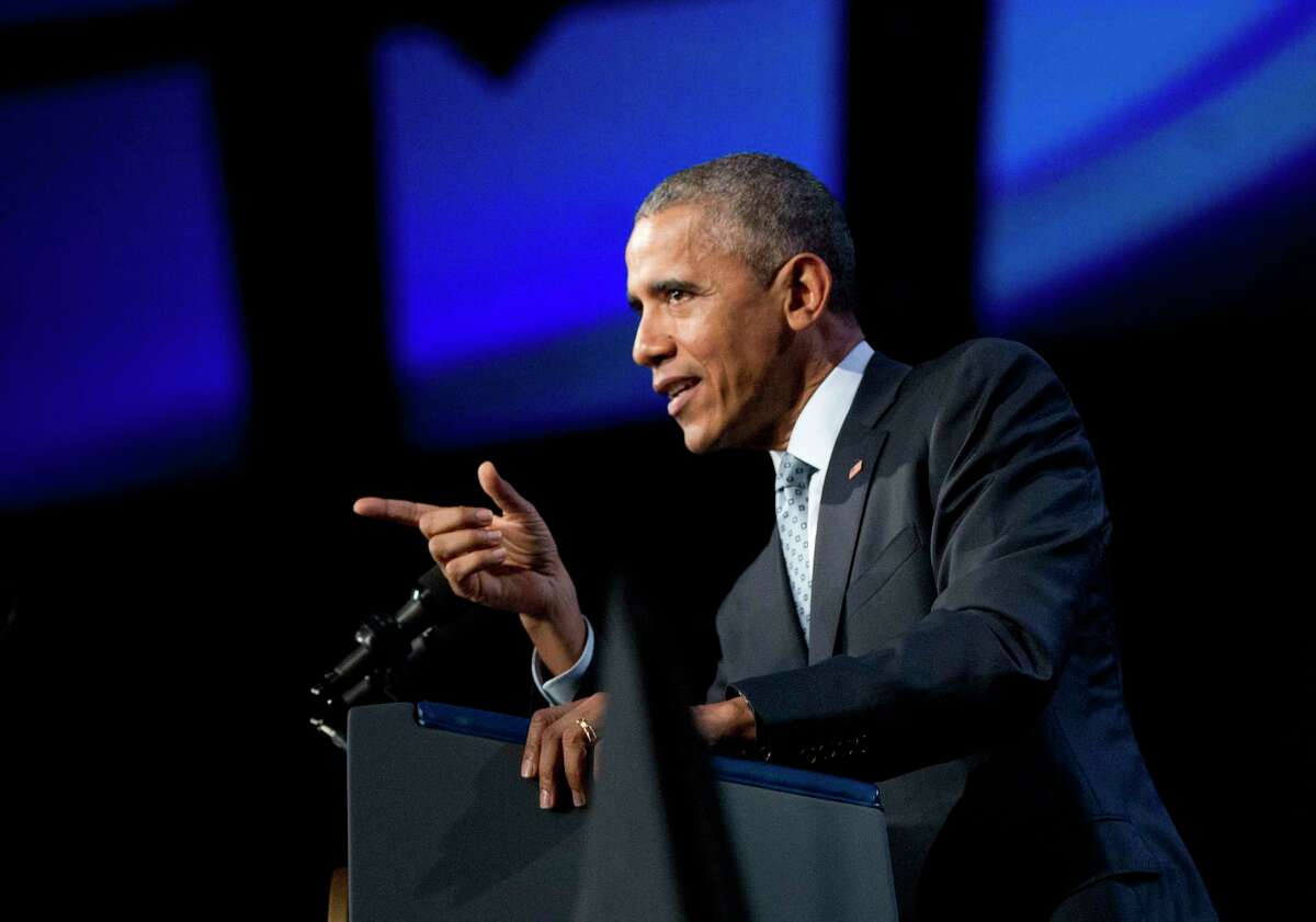 In this Oct. 27, 2015, photo, President Barack Obama speaks at the 122nd International Association of Chiefs of Police Annual Conference in Chicago. Even as Obama sent U.S. troops back to Iraq and ordered the military to stay in Afghanistan, he insisted Syria would remain off limits for American ground forces. Now the president has crossed his own red line.