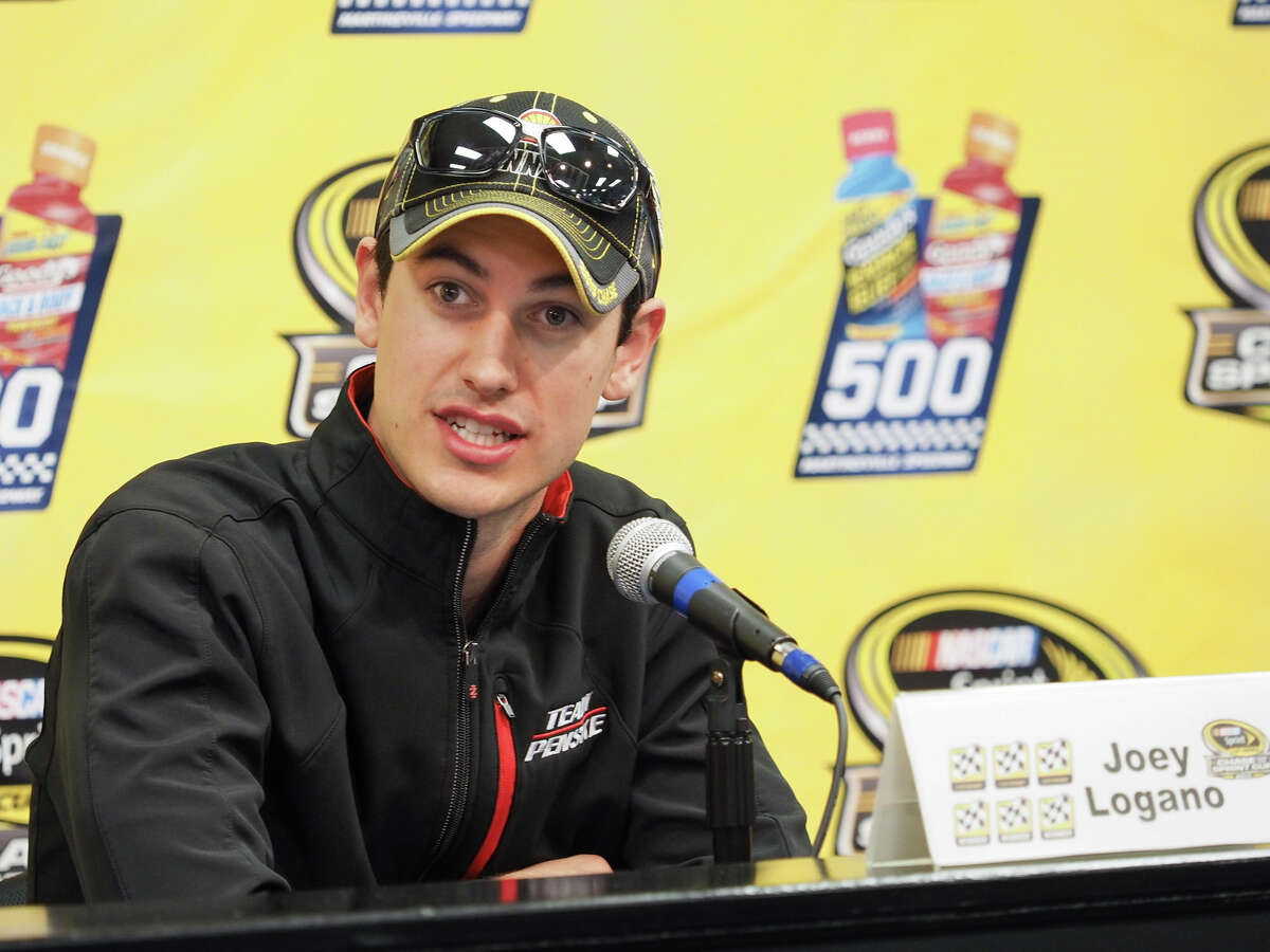 Joey Logano speaks at a press conference for Sunday's Sprint Cup race at Martinsville.