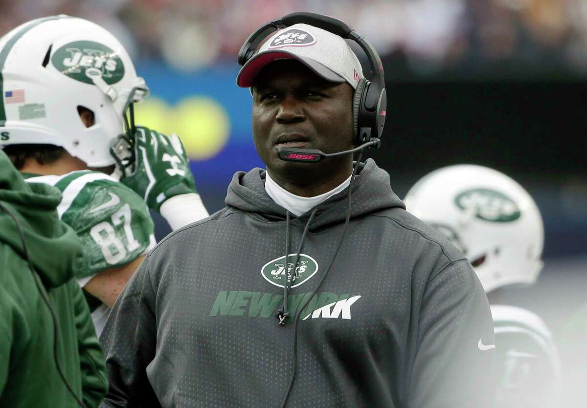 New York Jets head coach Todd Bowles watches from the sideline during Sunday's game against the New England Patriots in Foxborough, Mass.