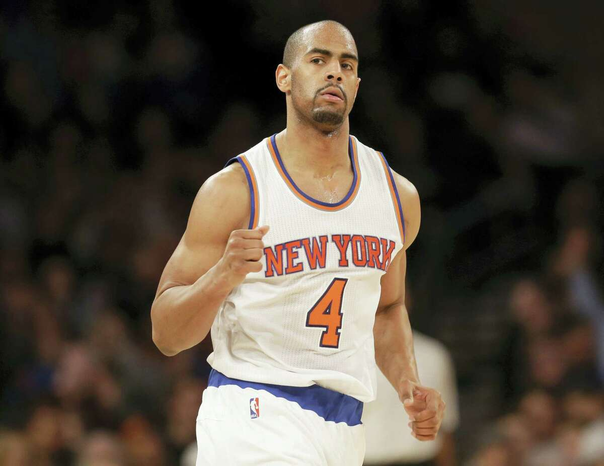 The Knicks' Arron Afflalo reacts after hitting a 3-pointer against the Hawks on Sunday in New York.