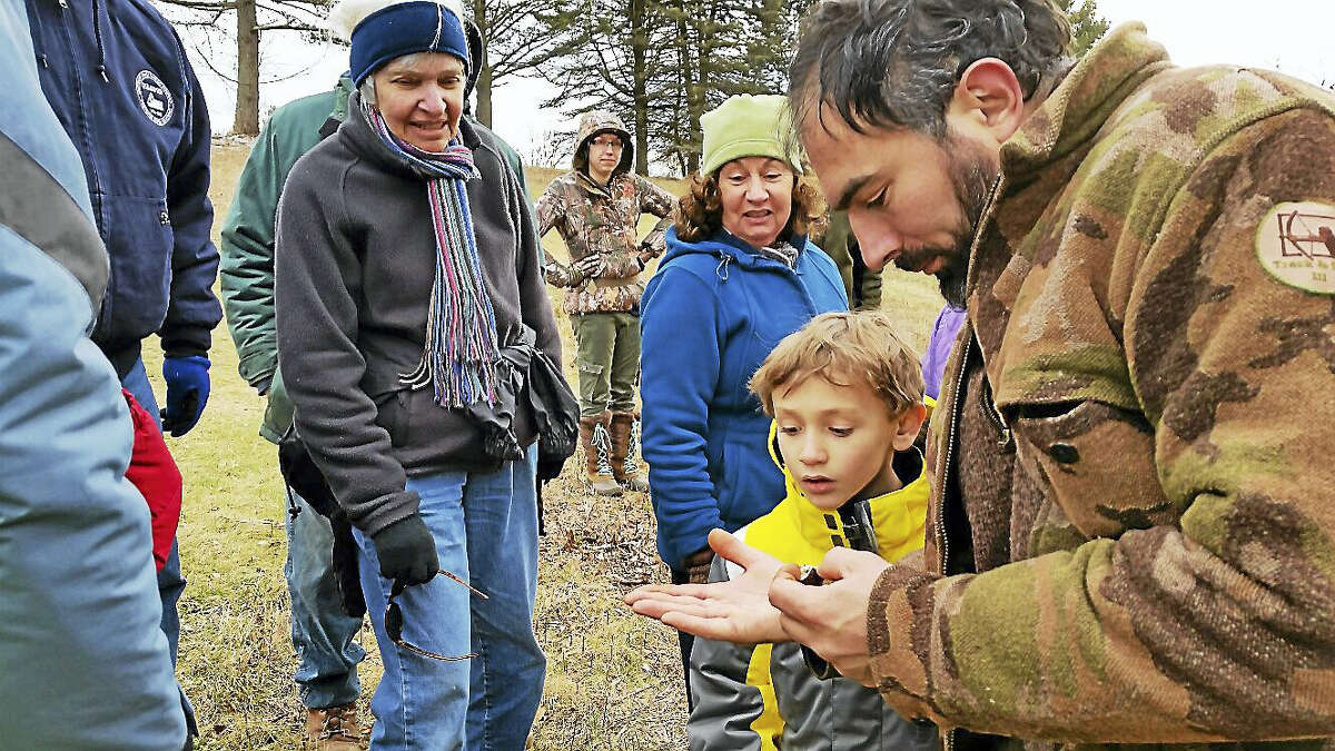 N.F. Ambery Instructor Andy Dobos exhibited the contents of a gall at the free monthly Wildlife Tracking Club event.