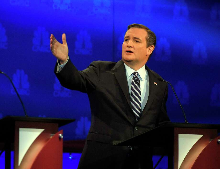In this Oct. 28 photo, Republican presidential candidate Sen. Ted Cruz, R-Texas, talks about the mainstream media during the CNBC Republican presidential debate at the University of Colorado in Boulder, Colo. Photo: AP Photo  / AP