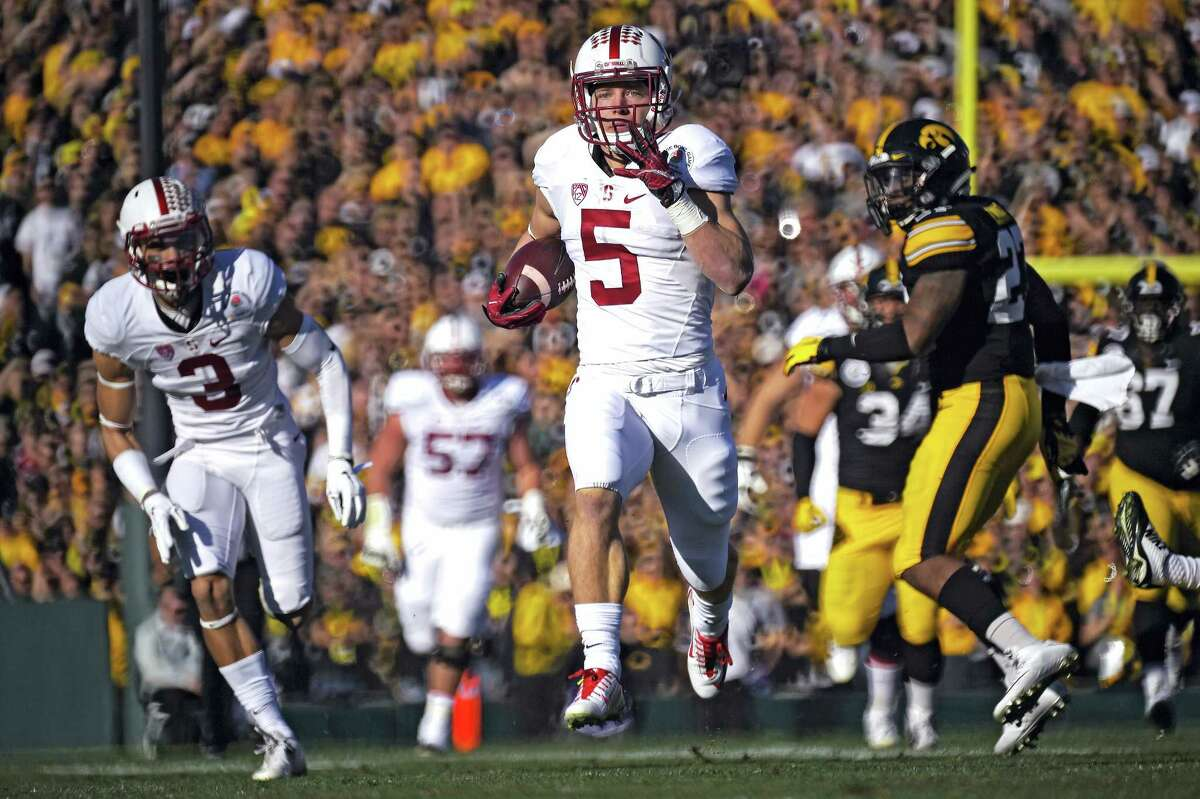 Stanford running back Christian McCaffrey scores against Iowa during the Rose Bowl on Friday in Pasadena, Calif.