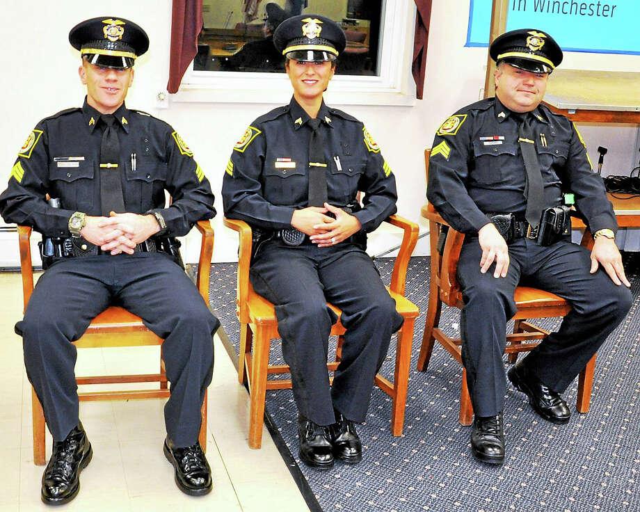 Patrol officers Jason Hermenau, Kim Boyne and Robert Varasconi await swearing in to sergeants of the Winchester Police  Department. Photo: Photo By Lara S. Green-Kazlauskas