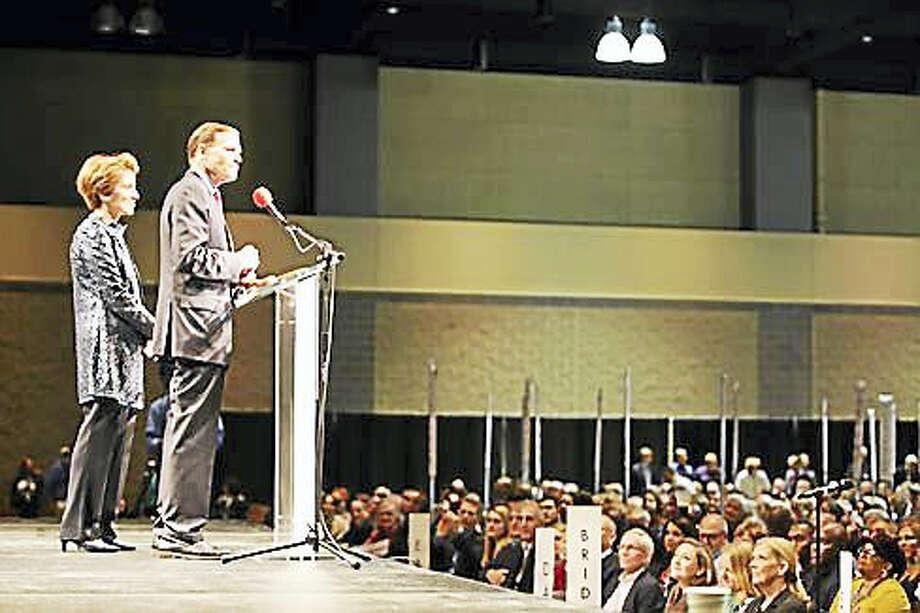 U.S. Sen. Richard Blumenthal speaks at the podium Photo: Christine Stuart — CT News Junkie