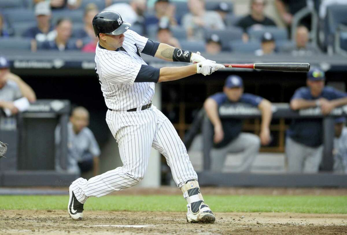 Gary Sanchez hits a home run in the sixth inning Saturday.