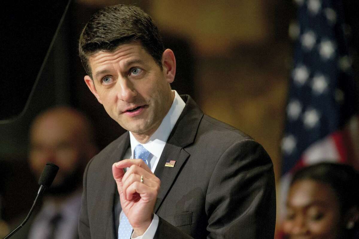 ASSOCIATED PRESS FILE PHOTO In this April 27 file photo,House Speaker Paul Ryan of Wisconsin speaks in Washington. Ryan says he is not ready to support Donald Trump for president.