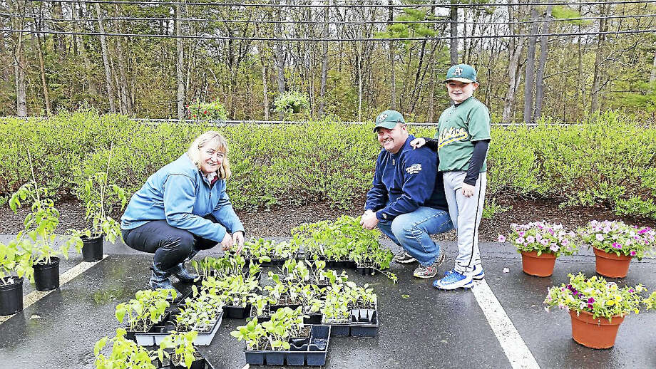Barkhamsted Women's Club member Debbie Cloud assisted customers Michael Stapleton and his son Brayden, 9, both of Barkhamsted, at the Women's Club's 19th annual Mother's Day Flower Sale at the Barkhamsted Town Garage Saturday, May 7, 2016. Photo: N.F. Ambery — The Register Citizen