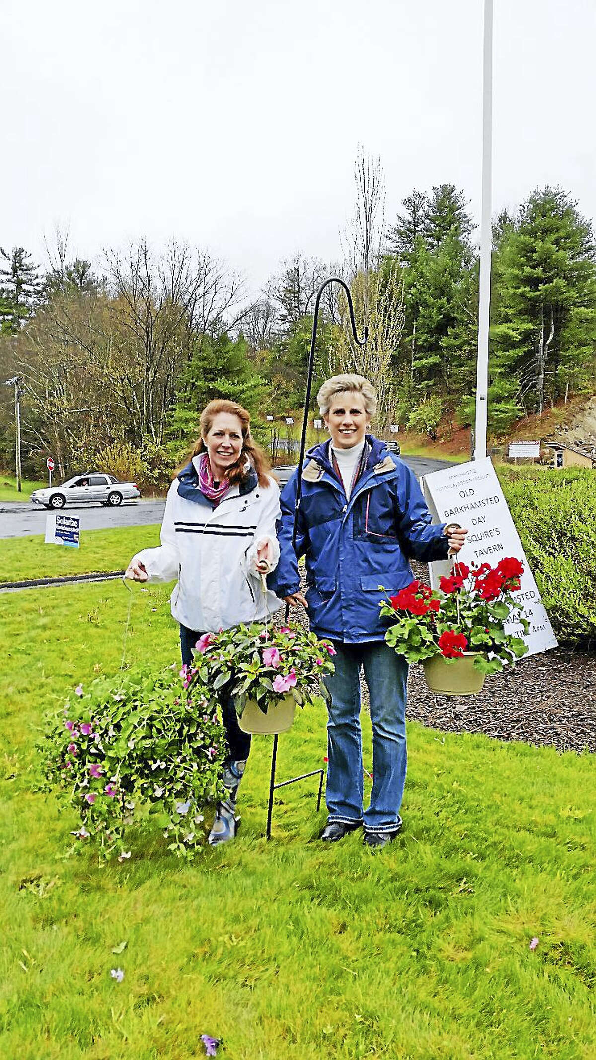 Barkhamsted Women's Club vice-president Karen Martin and membership director Linda Richard sold potted flowers, vegetables, greeting cards, and Barkhamsted-themed ornaments at the Women's Club's 19th annual Mother's Day Flower Sale at the Barkhamsted Town Garage Saturday, May 7, 2016.