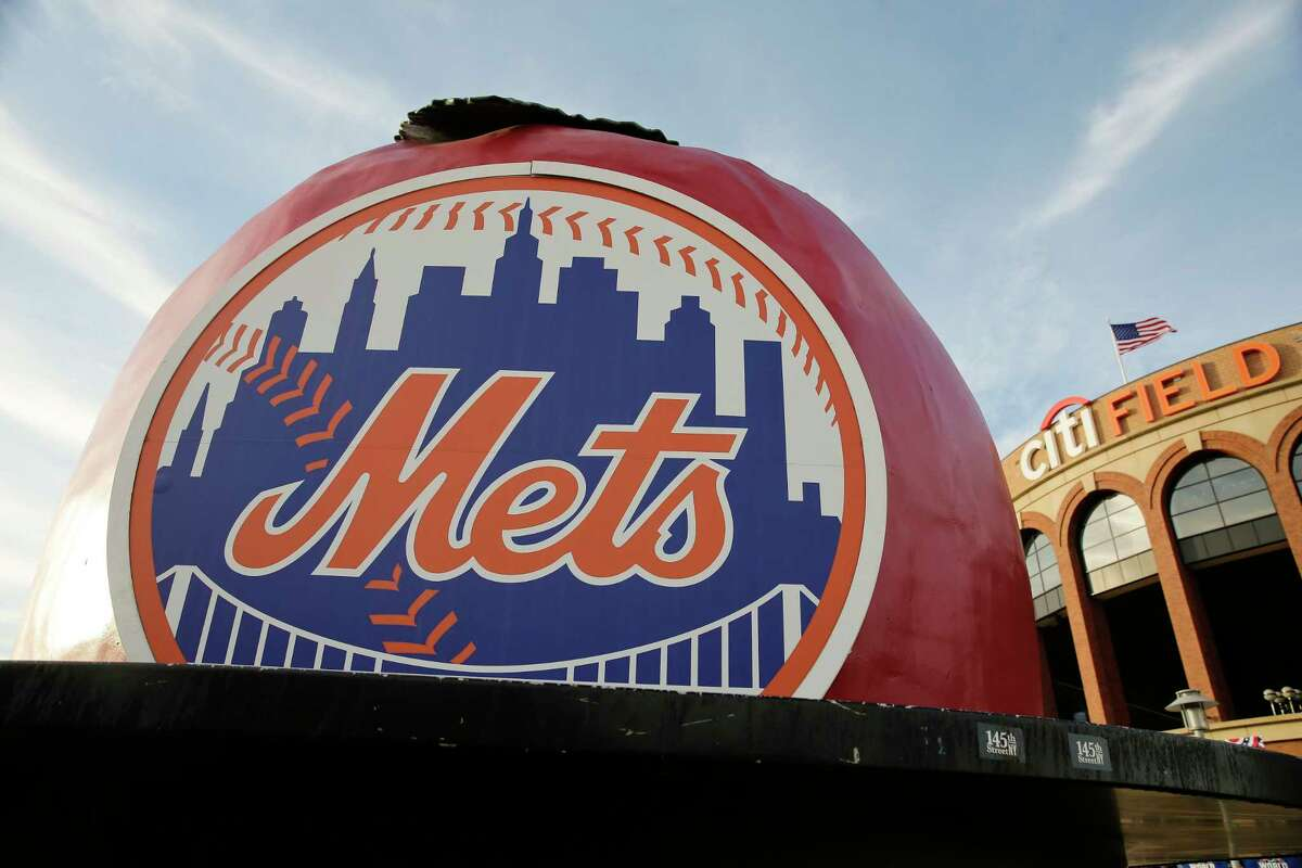 The New York Mets logo is displayed Citi Field before Friday's Game 3 of the World Series.
