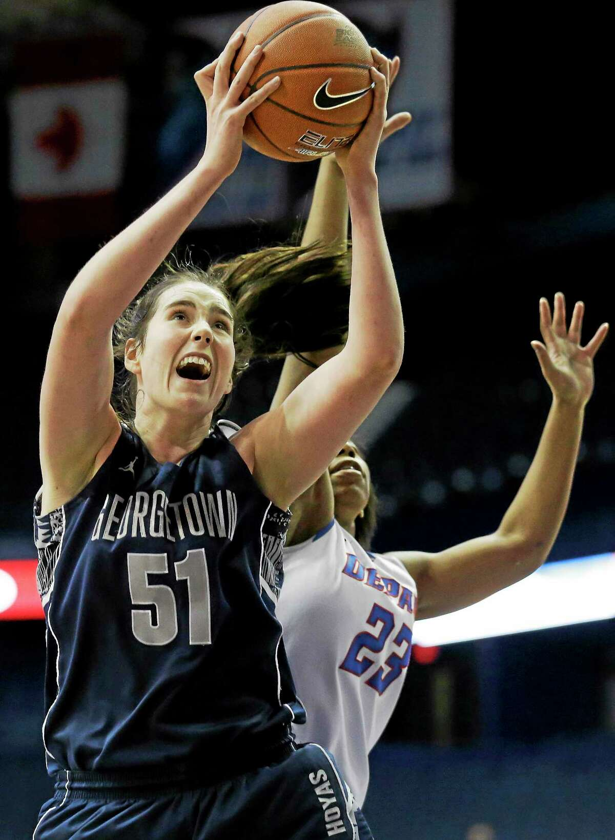 Natalie Butler (51), shown here in 2014 at Georgtown, will miss some time for UConn with torn ligaments in her thumb.
