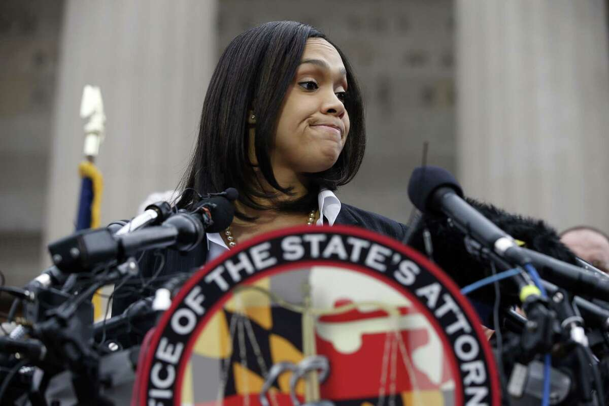 Marilyn Mosby, Baltimore state's attorney, pauses while speaking during a media availability, Friday, May 1, 2015 in Baltimore. Mosby announced criminal charges against all six officers suspended after Freddie Gray suffered a fatal spinal injury while in police custody.