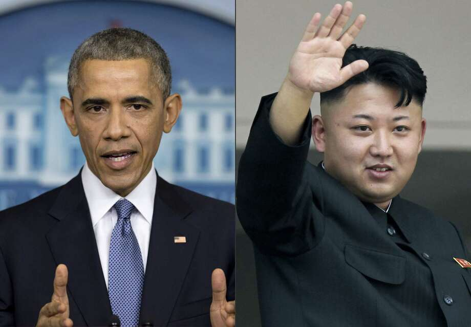 "This photo combination shows U.S. President Barack Obama, left, and North Korean leader Kim Jong Un. North Korea has compared Obama to a monkey and blamed the U.S. for shutting down its Internet amid the hacking row over the movie ""The Interview."" (AP Photos) Photo: AP / AP"