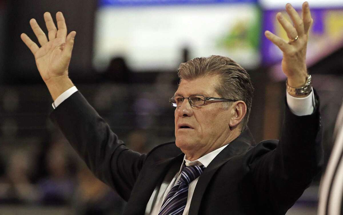 UConn head coach Geno Auriemma reacts to a call during the second half of the second-ranked Huskies' 89-38 win over East Carolina on Wednesday in Greenville, N.C.